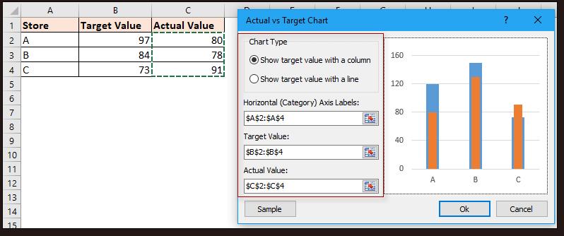 doc kutools target vs actual chart 2