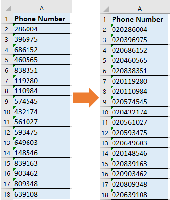 How to add country/area code to a phone number list in Excel?