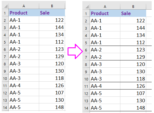 doc add border line below when value changes 1