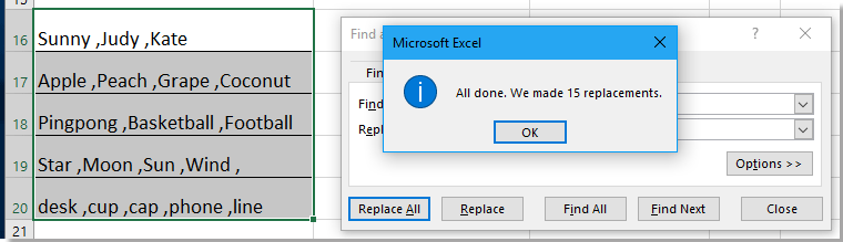 how to quickly add comma between words in excel
