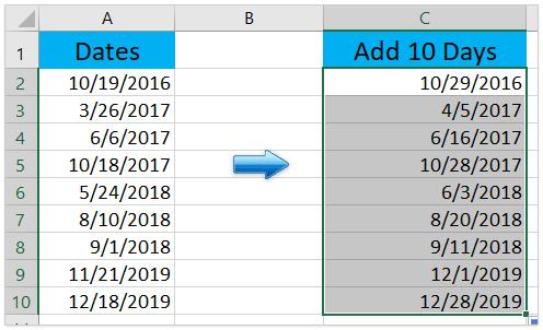 Excel formula date minus 3 days