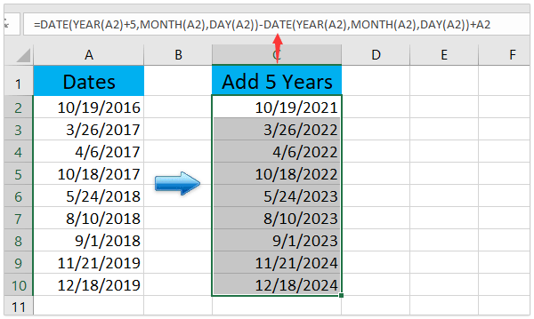 How to add or subtract days, months, and years to date in Excel?