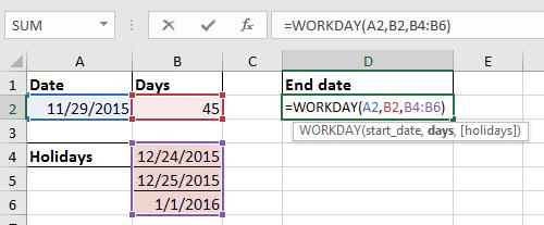 دوك إضافة أيام إكسلودينغ عطلة نهاية الأسبوع شنومكس
