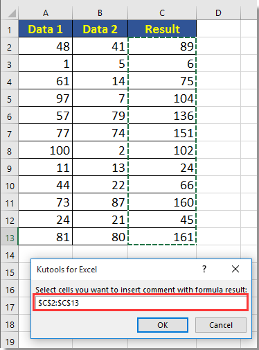 doc add formula result to comment 2