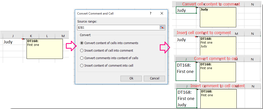 doc convert comment and cell