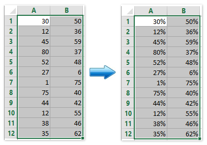 How to add percentage symbol for multiple numbers in cells
