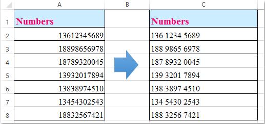 doc ajouter des espaces entre le nombre 1