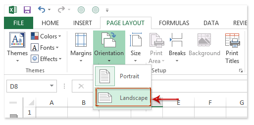 How to make all sheets to landscape orientation in Excel?