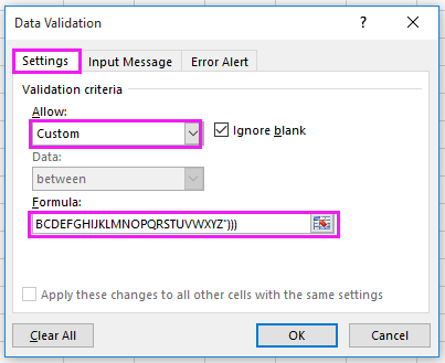 How to only allow alphanumeric characters entry in Excel?