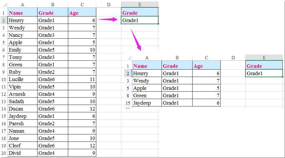 How to autofilter rows based on cell value in Excel?