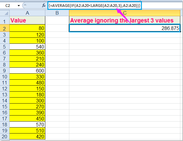 How to average top or bottom 3 values in Excel?