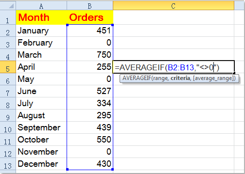 How to average a range of data ignoring zero in Excel?