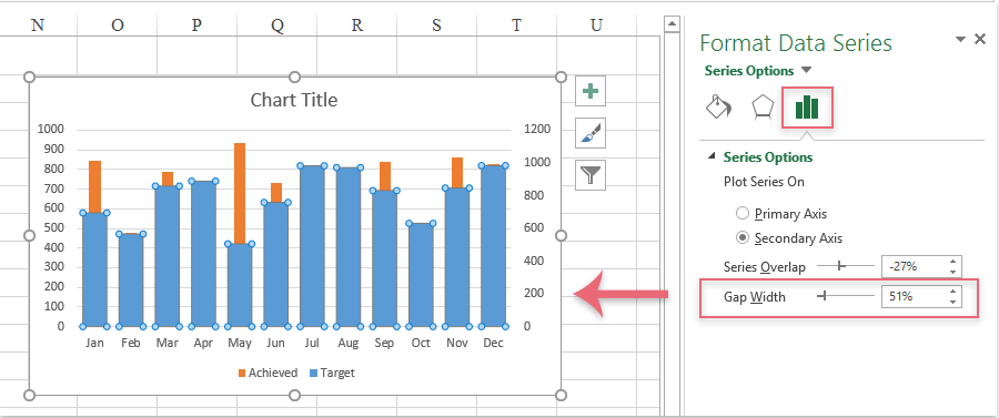 How to create a bar chart overlaying another bar chart in Excel?