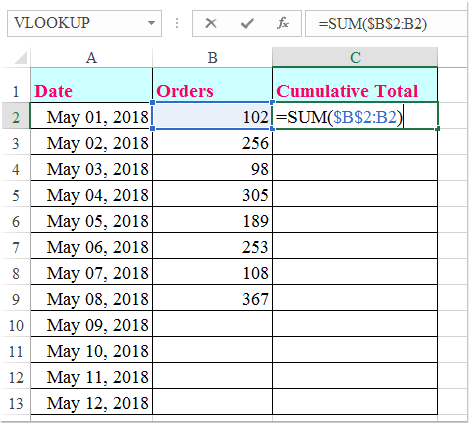 doc calculate cumulative sum 1