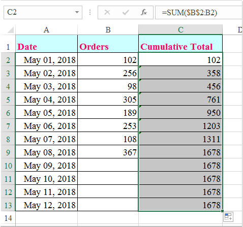 doc calculate cumulative sum 2