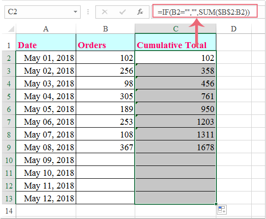 doc calculate cumulative sum 3