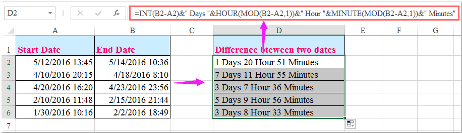 doc calculate days hours minutes 2