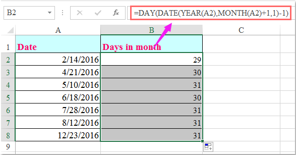 doc calculate days in month 1