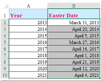 doc calculate easter date 5