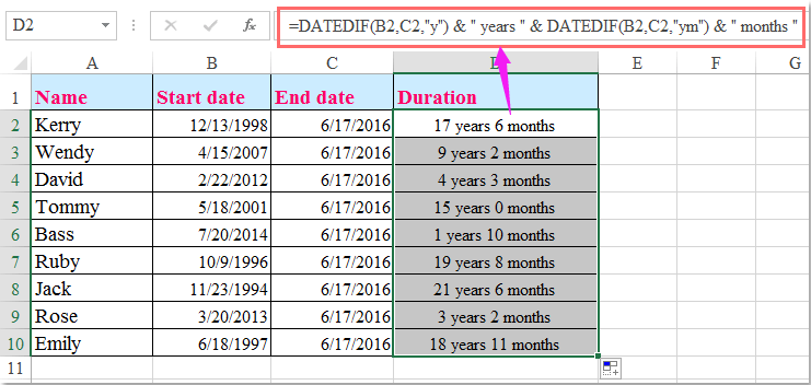 How to calculate the length of service from hire date in Excel?
