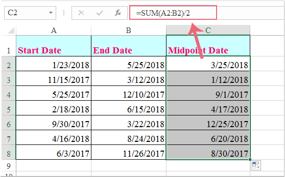doc calculate midpoint between dates 1