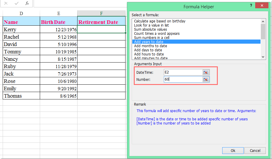 How to calculate retirement date from date of birth in Excel?