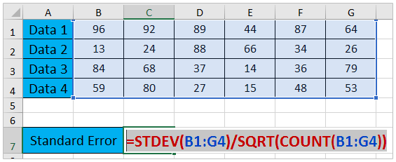 How to calculate standard error of the mean in Excel?