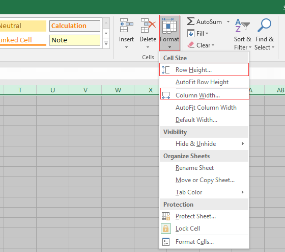 How to change the width of all columns or height of all rows in Excel?