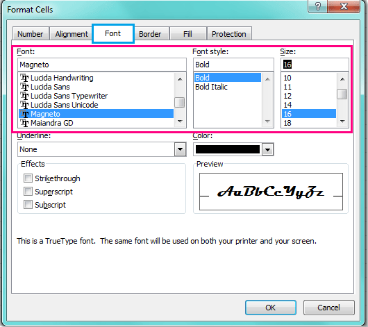 Change the font / size of row and column headings in Excel