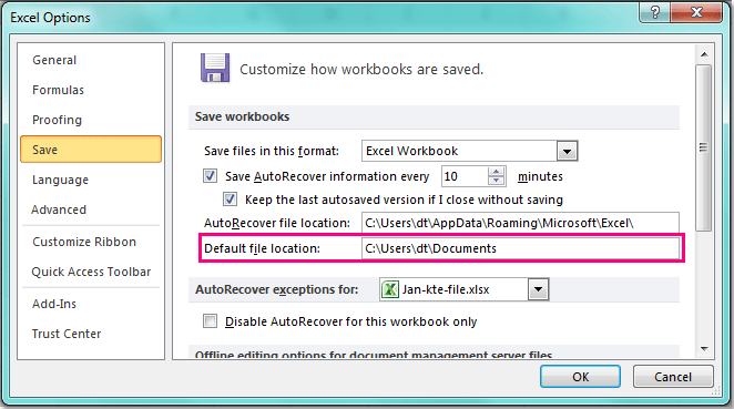 How To Change Save As Default Location In Excel?