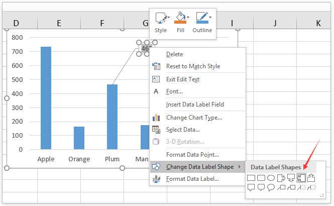 How to add comment to a data point in an Excel chart?
