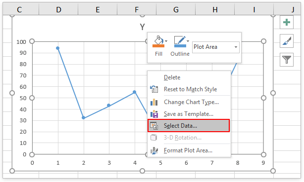How to switch between X and Y axis in scatter chart?