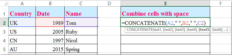doc add space in concatenate 2
