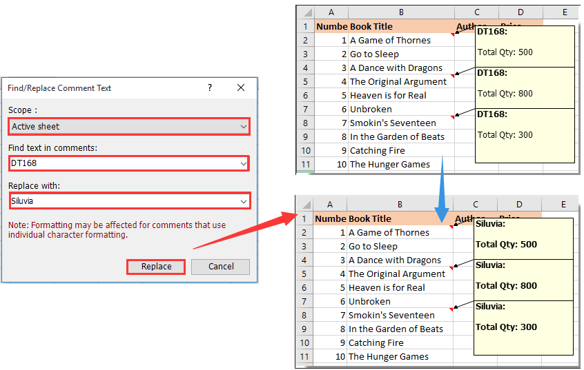 How to change all comments' author name in Excel?