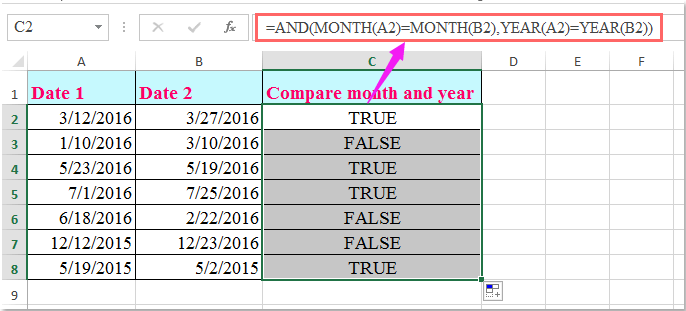 doc compare month year only 2