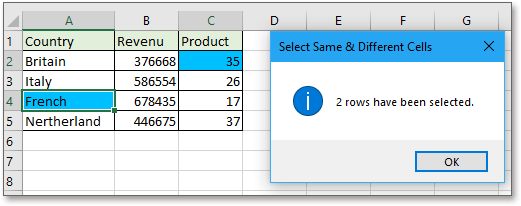 doc kutools select same different cells 3