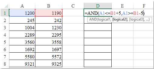 How to compare numbers but allowing a tolerance in Excel?