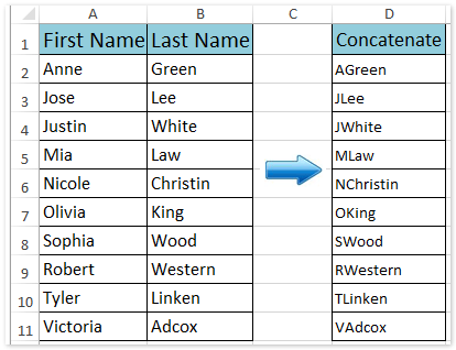 How to concatenate first letters of names/cells in Excel?