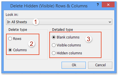 configurate to delete all blank columns