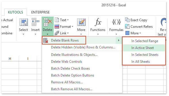 Excel addin: one click to delete all blank rows