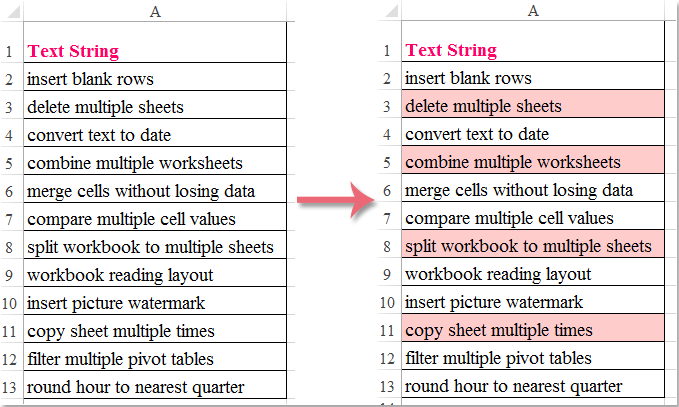 How To Conditional Formatting If The Cell Contains Partial Text In