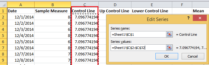 How to create a control chart in Excel?
