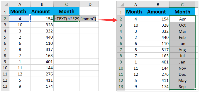 How To Convert 1 12 Month Name In Excel