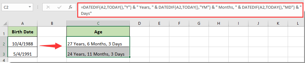 How to convert birthdate to age quickly in Excel?