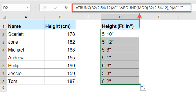 How To Convert Cm Or M To Feet And Inches In Excel