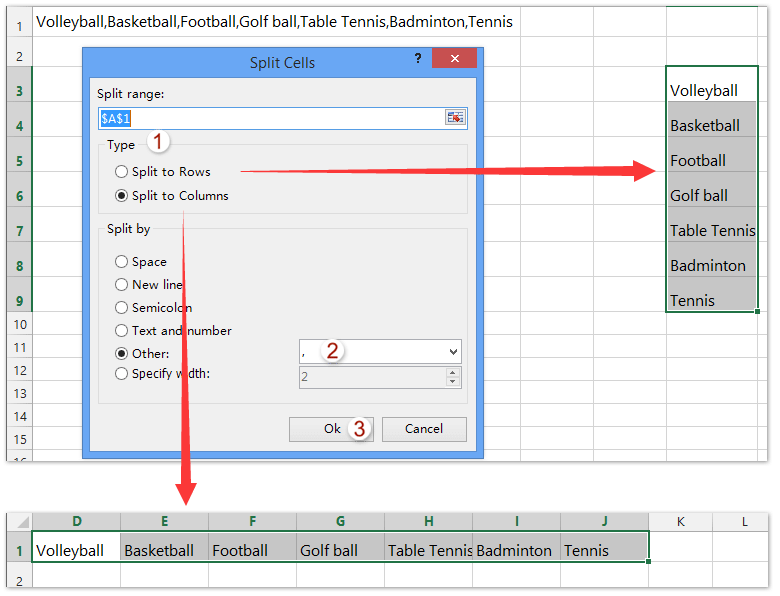 How to convert column list to comma separated list in Excel?