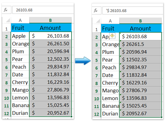 And Then All Selected Currency Numbers Are Converted To Text With Formatting Directly See Screenshot