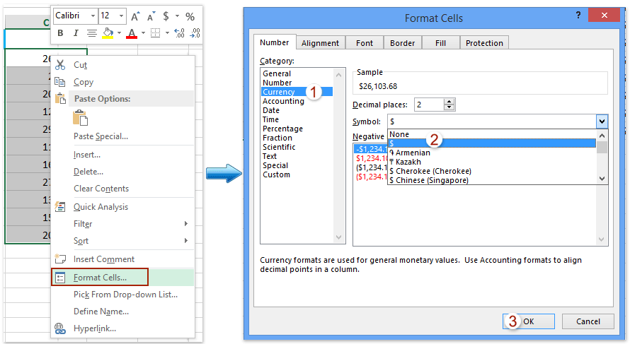 How to convert currency to text with formatting or vice