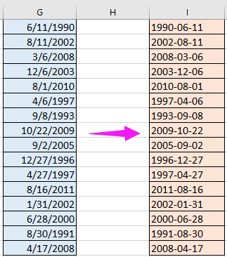How to convert date to yyyy-mm-dd format in Excel?