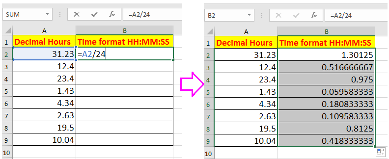 doc convert decimal hours to time 2